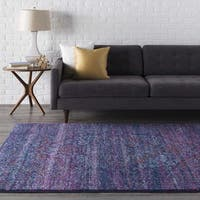 "Haute-Hali Persian Distressed Purple/ Blue Area Rug - 5'3"" x 7'3"""
