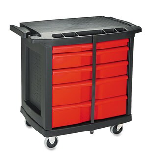 Rubbermaid Black Plastic Top Five-drawer Mobile Work Center