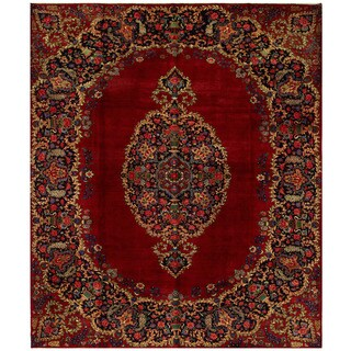 Herat Oriental Persian Hand-knotted Yazd Wool Rug (10' x 11'11)