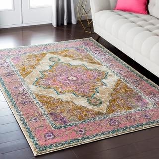 Amelia Distressed Persian Vintage Pink/ Beige Rug (5'3 x 7'3)