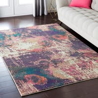"""Luxurious Luxe Modern Watercolor Purple/Pink Area Rug - 5'3"""" x 7'3"""""""