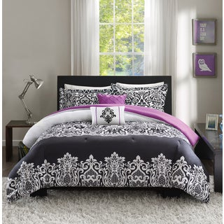 Intelligent Design Hazel Black/ Purple Comforter Set