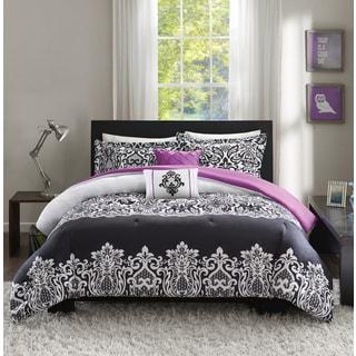 Intelligent Design Hazel Black/ Purple Comforter Set