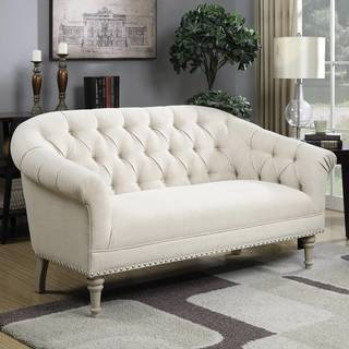 Button Tufted Design Living Room Settee with Nailhead Trim