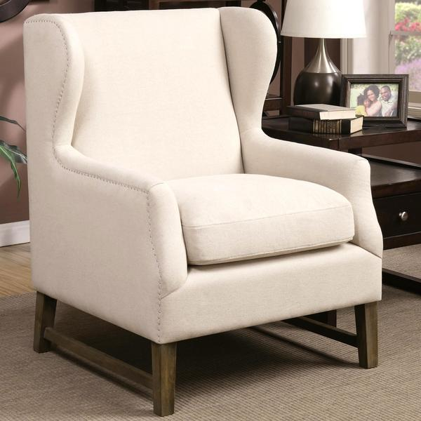 Classic Wingback Design Accent Chair With Silver Nailhead Trim
