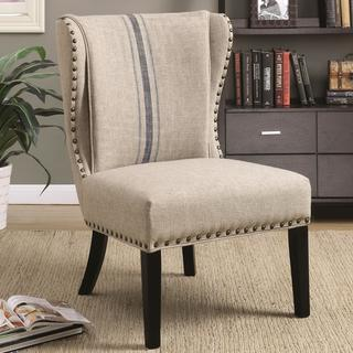 Wingback Armless Design Accent Chair with Decorative Nailhead Trim