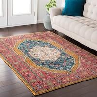 "Georgian Persian Traditional Oriental Pink/Blue Area Rug - 5'3"" x 7'3"""