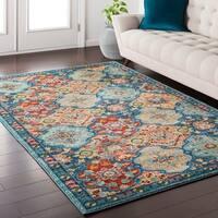 Emilie Traditional Vintage Oriental Blue/ Multi Area Rug (5'3 x 7'3)