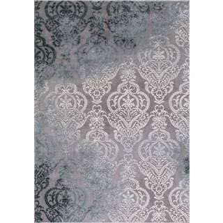 Motif Collection Appliques Grey/Ivory Damask Area Rug (7'10 x 10'6)