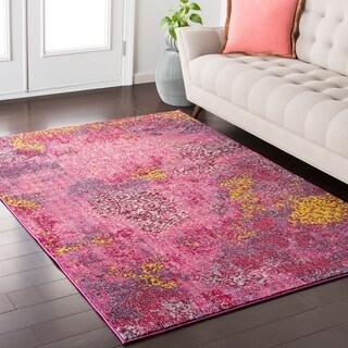 Trocadero Boho Abstract Bright-Pink Rug (5'3 x 7'3)