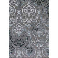 Concord Global Thema Brocade Blue Rug - 5'3 x 7'3