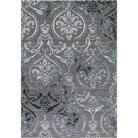 "Concord Global Thema Brocade Blue Rug - 3'3"" x 4'7"""
