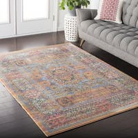 The Curated Nomad Banneker Persian Distressed Saffron Area Rug - 5'3 x 7'6