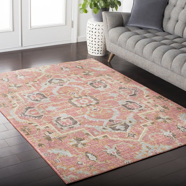Hali House Distressed Vintage Persian Pale Pink Area Rug 5 X27