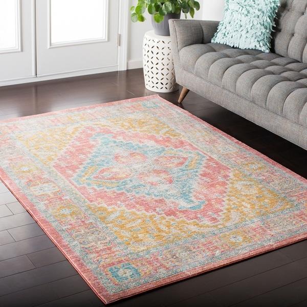shop hali house distressed persian vintage pastel pink blue area rug 5 39 3 x 7 39 6 on sale. Black Bedroom Furniture Sets. Home Design Ideas