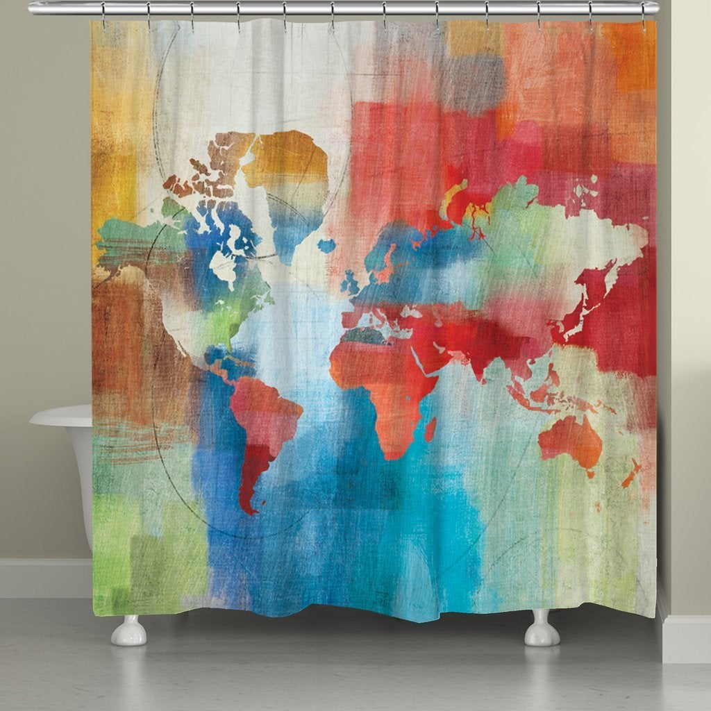 """Laural Home Colorful World Map Shower Curtain (71""""x72""""), ..."""