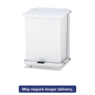 Rubbermaid Defenders White Biohazard 7 gal. Step Can