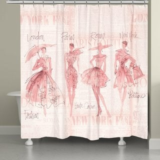 Laural Home Pink Fashion Divas Shower Curtain