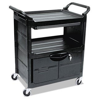 Rubbermaid Utility 2-Shelf Locking Door Cart