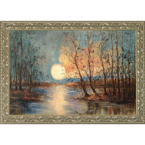 Justyna Kopania 'Moon (Reflections)' Hand Painted Framed Oil Reproduction on Canvas