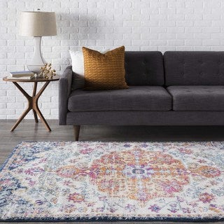 Distressed Bohemian Multicolor Medallion Area Rug (7'10 x 10'3)