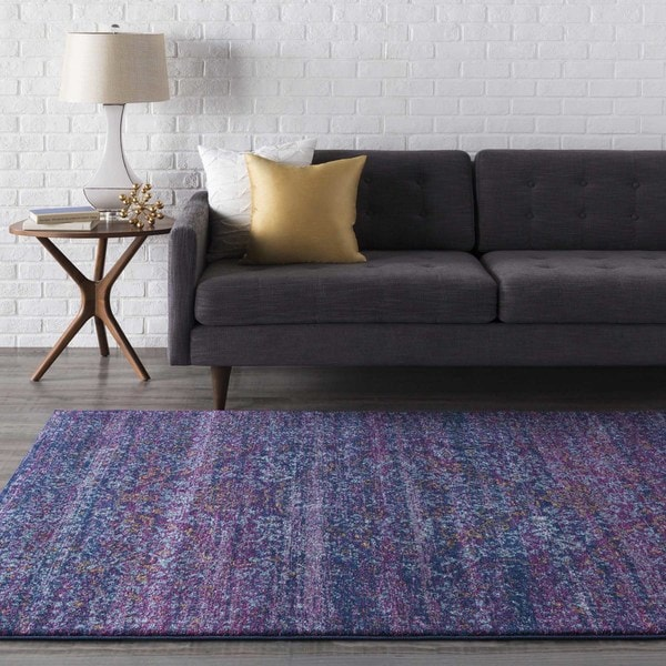 Haute-Hali Persian Distressed Purple/Blue Area Rug - 2' X 3'