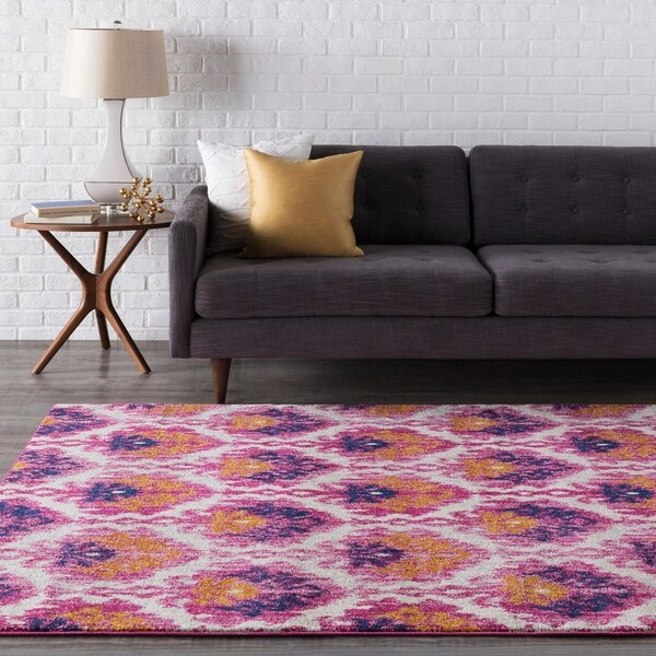 Shop Emily Pink & Saffron Ikat Area Rug