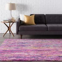 Trocadero Modern Pink Striped Area Rug - 2' x 3'