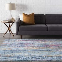 "Trocadero Modern Blue Striped Area Rug - 7'10"" x 10'3"""