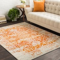 Haute-Hali Persian Distressed Burnt-Orange Area Rug - 7'10 x 10'3