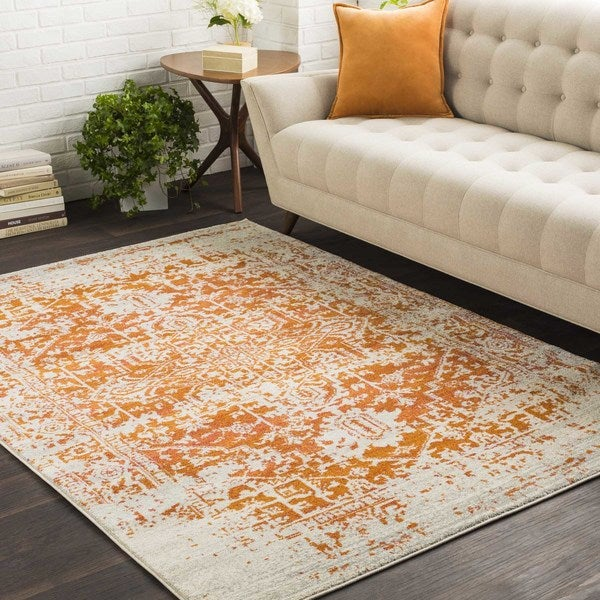 Haute-Hali Persian Distressed Burnt-Orange Area Rug (2' x 3')