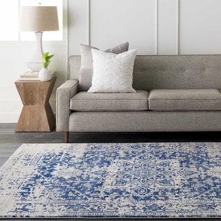 Haute-Hali Persian Distressed Blue/ Beige Rug (2' x 3')