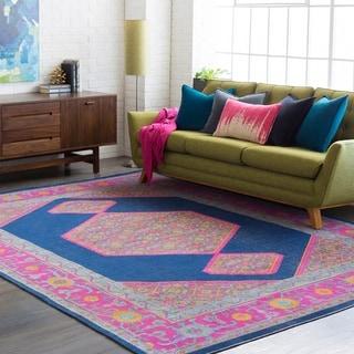 "Haute-Hali Persian Distressed Dark-Blue/Pink Area Rug - 7'10"" x 10'3"""