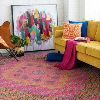 "Trocadero Boho Distressed Oriental Pink Area Rug - 7'10"" x 10'3"""