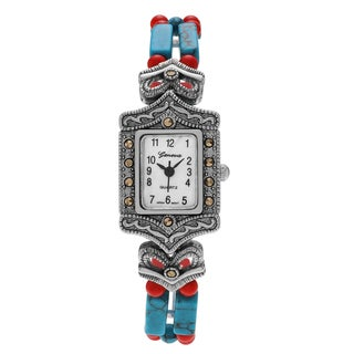 Geneva Platinum Women's Silvertone Marcasite Accent Blue and Red Beaded Bracelet Watch