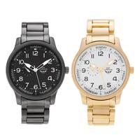 NY London Men's Round Face Brushed Link Bracelet Watch