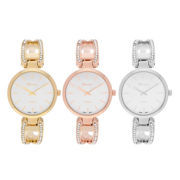 291b4b4fb Geneva Platinum Women's Round Face Rhinestone Accent Adjustable Hinged Cuff  Bracelet Watch