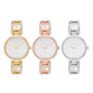 Geneva Platinum Women's Round Face Rhinestone Accent Adjustable Hinged Cuff Bracelet Watch