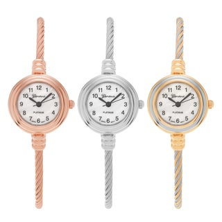 Geneva Platinum Round Face Thin Adjustable Twisted Cord Bracelet Watch