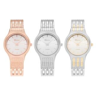 Geneva Platinum Round Case Silvertone Dial Hinged Cuff Bracelet Watch