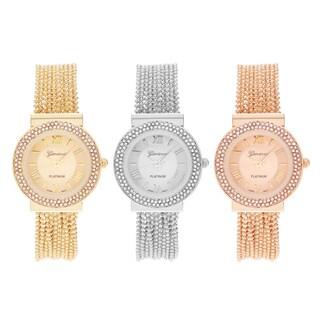 Geneva Platinum Women's Round Case Rhinestone Accent Roman Numeral Dial Beaded Bracelet Watch