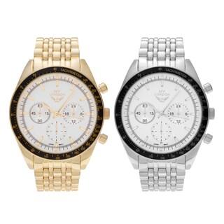 NY London Men's Large Round Face Tachymeter Link Bracelet Watch