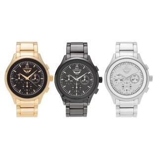 NY London Men's Large Round Face Polished Link Bracelet Watch