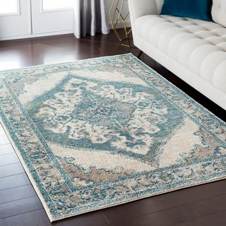 "Amelia Distressed Persian Vintage Blue/ Beige Area Rug - 6'7"" x 9'6"""