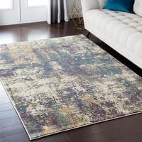 Luxurious Luxe Modern Watercolor Grey/Purple/Multi Area Rug (7'10 x 10'3)
