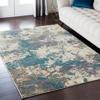 Luxurious Luxe Modern Watercolor Blue/Grey Area Rug - 6'6 x 9'6