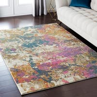 """Luxurious Luxe Modern Watercolor Pink/Blue Area Rug - 7'10"""" x 10'3"""""""