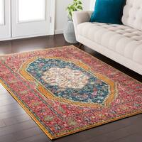 Georgian Persian Traditional Oriental Pink/ Blue Area Rug - 2' x 3'