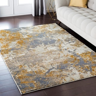 """Luxurious Luxe Modern Watercolor Cream/Teal Area Rug - 6'7"""" x 9'6"""""""
