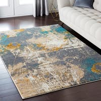 Luxurious Luxe Modern Watercolor Teal/Cream Area Rug - 7'10 x 10'3